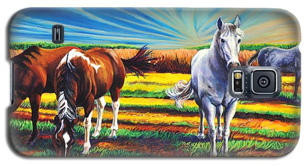 Galaxy S5 Case featuring the painting Texas Quarter Horses by Greg Skrtic