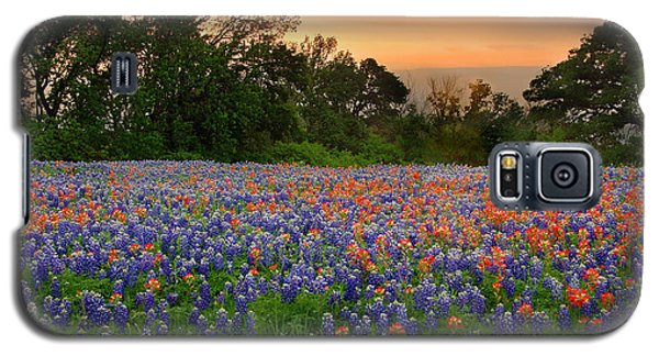 Galaxy S5 Case featuring the photograph Texas Sunset - Bluebonnet Landscape Wildflowers by Jon Holiday
