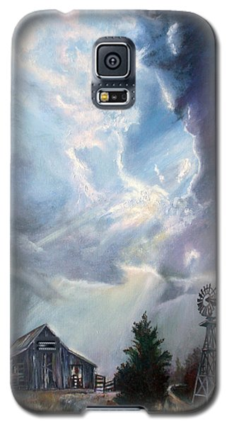 Galaxy S5 Case featuring the painting Texas Thunderstorm by Karen Kennedy Chatham
