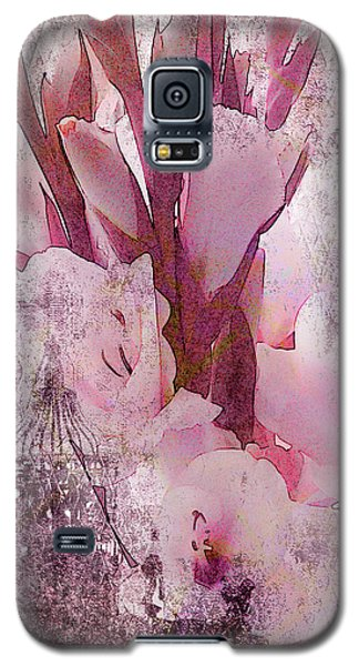 Galaxy S5 Case featuring the photograph Textured Pink Gladiolas by Sandra Foster
