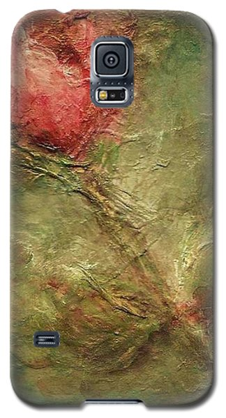 Galaxy S5 Case featuring the painting Textured Rose Art by Mary Wolf