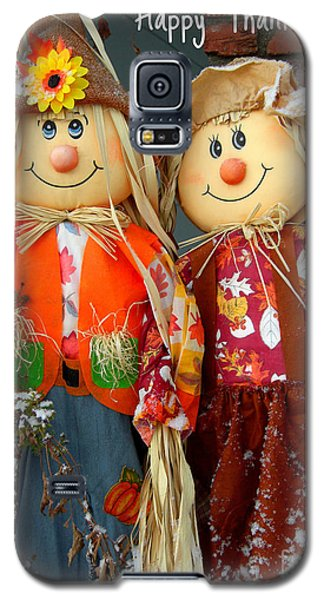 Galaxy S5 Case featuring the photograph Thanksgiving Scarecrows Card by Heidi Manly
