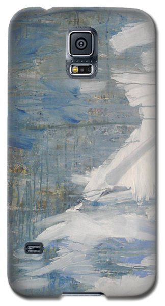 Galaxy S5 Case featuring the painting Thaw Water Ice Abstraction by John Fish