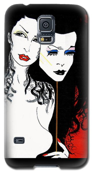 Galaxy S5 Case featuring the painting The 2 Face Girl by Nora Shepley
