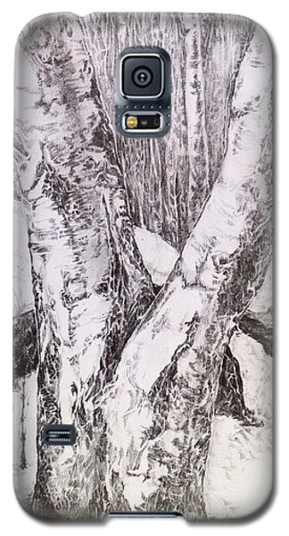 Galaxy S5 Case featuring the drawing The Birches by Iya Carson