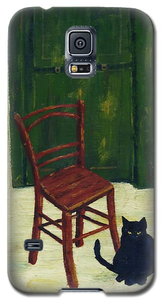 Galaxy S5 Case featuring the painting The  Black Cat by Hartmut Jager