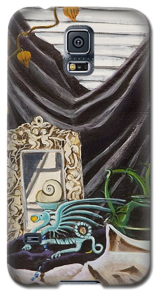 Galaxy S5 Case featuring the painting The Blue Dragon  by Susan Culver