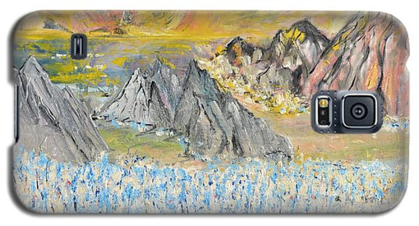Galaxy S5 Case featuring the painting The Blue Field by Evelina Popilian