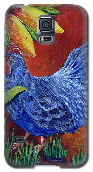 Galaxy S5 Case featuring the painting The Blue Rooster by Suzanne Theis