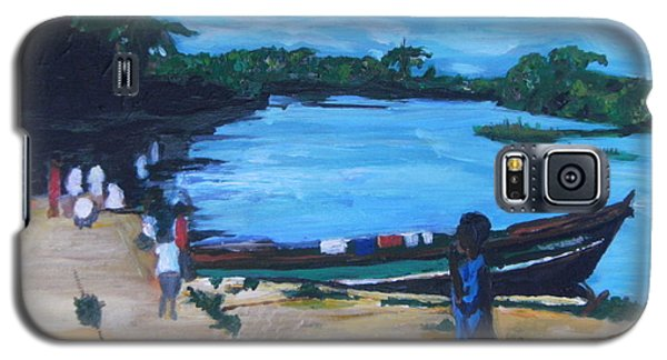 Galaxy S5 Case featuring the painting The Boy Porter  Sierra Leone by Mudiama Kammoh