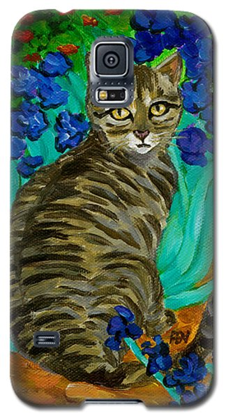 Galaxy S5 Case featuring the painting The Cat At Van Gogh's Irises Garden by Jingfen Hwu