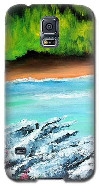 Galaxy S5 Case featuring the painting The Cliff by Ellen Canfield