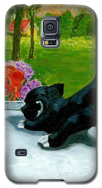Galaxy S5 Case featuring the painting The Close Encounter Of A Cat And Fish by Jingfen Hwu