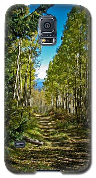 Galaxy S5 Case featuring the painting The Cool Path Through Arizona Aspens by John Haldane