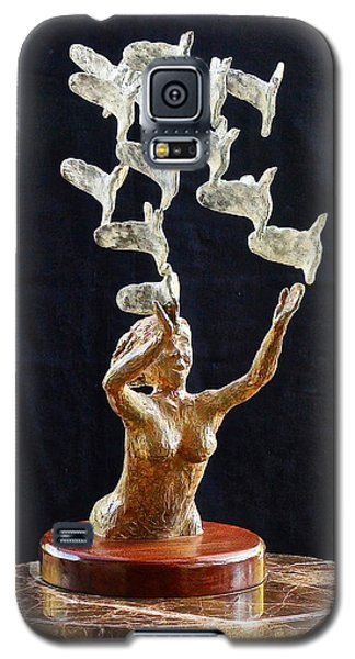 Galaxy S5 Case featuring the sculpture The Dove Maiden 2 by Dan Redmon