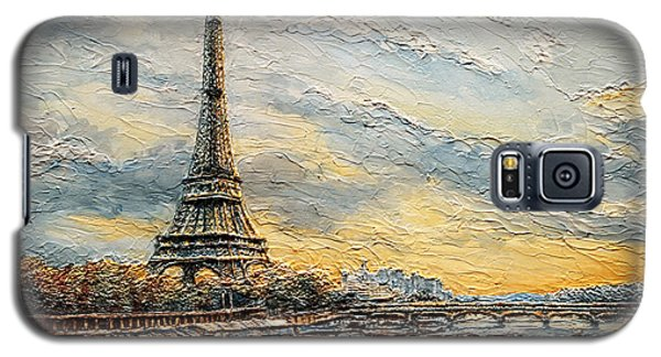 Galaxy S5 Case featuring the painting The Eiffel Tower- From The River Seine by Joey Agbayani