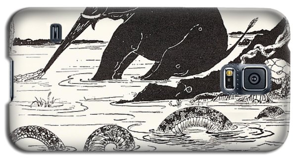 The Elephant's Child Having His Nose Pulled By The Crocodile Galaxy S5 Case by Joseph Rudyard Kipling
