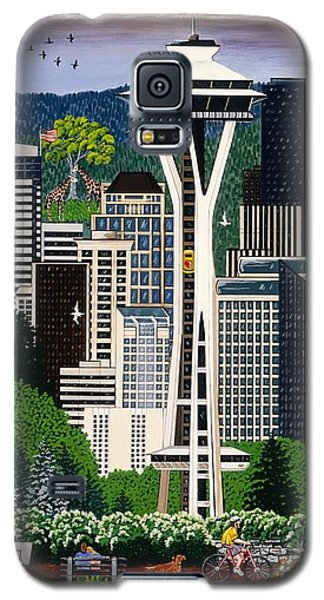 Galaxy S5 Case featuring the painting The Emerald City Seattle by Jennifer Lake