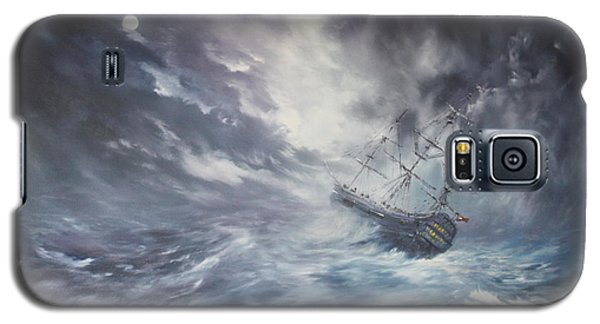 Galaxy S5 Case featuring the painting The Endeavour On Stormy Seas by Jean Walker
