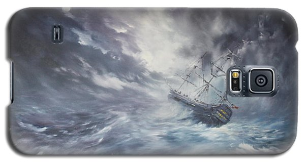 The Endeavour On Stormy Seas Galaxy S5 Case by Jean Walker
