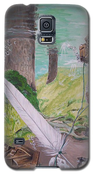 Galaxy S5 Case featuring the painting The Feather And The Word La Pluma Y La Palabra by Lazaro Hurtado