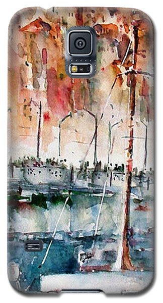 Galaxy S5 Case featuring the painting The Ferry Arrives At Galata Port - Istanbul by Faruk Koksal