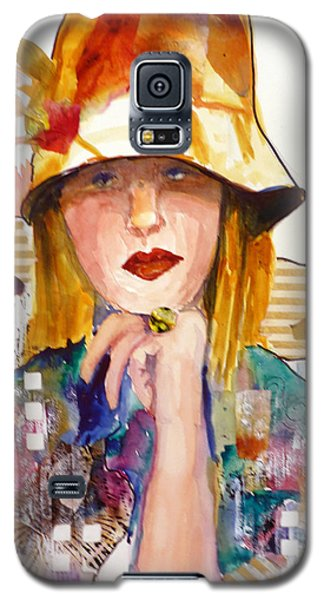 Galaxy S5 Case featuring the mixed media The Flowered Hat by P Maure Bausch
