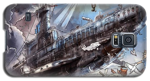 Galaxy S5 Case featuring the painting The Flying Submarine by Reynold Jay