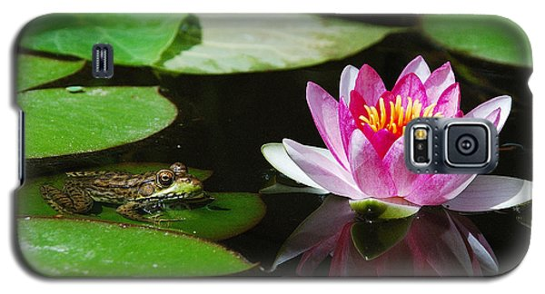 Galaxy S5 Case featuring the photograph The Frog And The Lily by Janice Adomeit