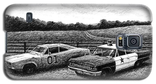 Galaxy S5 Case featuring the drawing The General Lee And Barney Fife's Police Car by Janet King