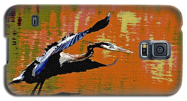 Galaxy S5 Case featuring the photograph The Great Blue Heron Jumps To Flight by Tom Janca
