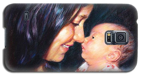Galaxy S5 Case featuring the drawing The Joy Of A Young Mother by Viola El