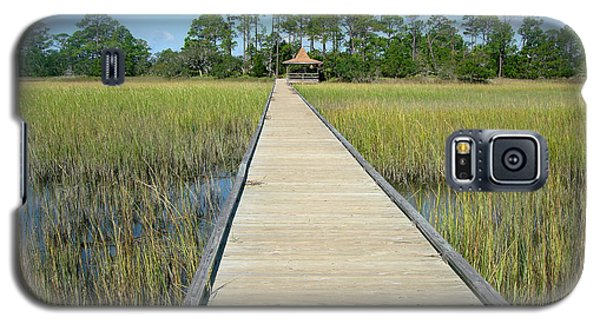 Galaxy S5 Case featuring the photograph The Long Walk In The Wetlands by Ellen Tully