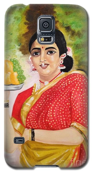Galaxy S5 Case featuring the painting The Maharashtrian Lady by Brindha Naveen