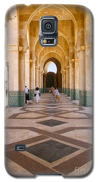 Galaxy S5 Case featuring the photograph The Massive Colonnades At The Hassan II Mosque Sour Jdid Casablanca Morocco by Ralph A  Ledergerber-Photography