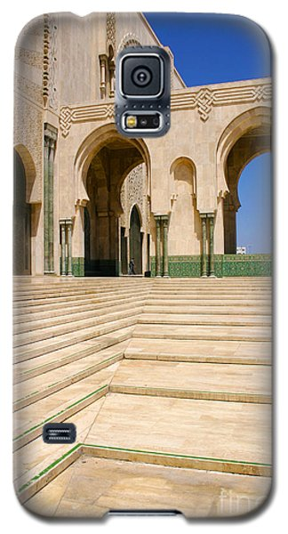 Galaxy S5 Case featuring the photograph The Massive Colonnades Leading To The Hassan II Mosque Sour Jdid Casablanca Morocco by Ralph A  Ledergerber-Photography