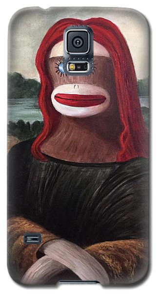 Galaxy S5 Case featuring the painting The Monkey Lisa by Randol Burns