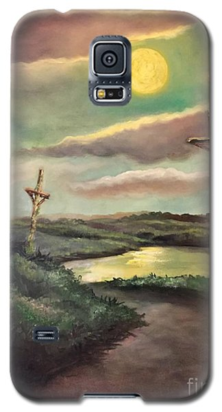 Galaxy S5 Case featuring the painting The Moon With Three Crosses by Randol Burns