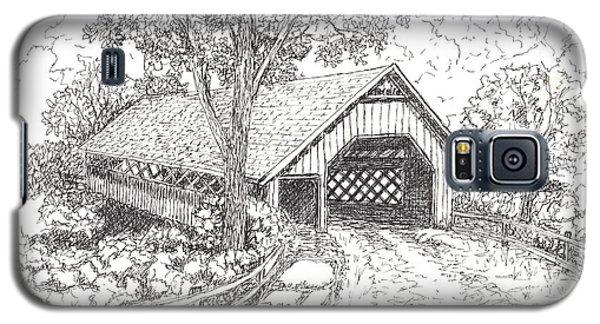 Galaxy S5 Case featuring the drawing The Old Creamery Bridge Brattleboro Vt Pen Ink by Carol Wisniewski