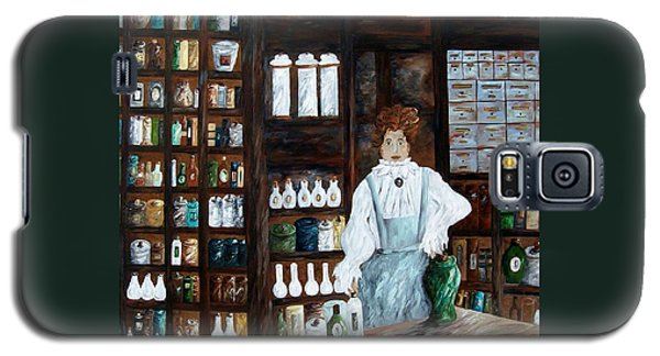 Galaxy S5 Case featuring the painting The Old Pharmacy ... Medicine In The Making by Eloise Schneider
