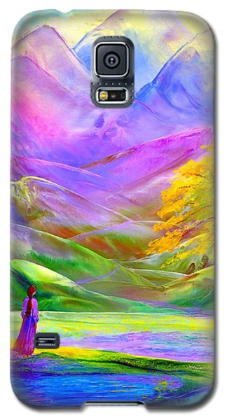Galaxy S5 Case featuring the painting Misty Mountains, Fall Color And Aspens by Jane Small