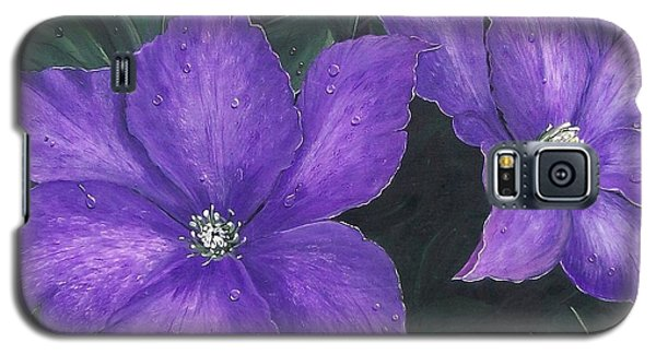 Galaxy S5 Case featuring the painting The President Clematis by Sharon Duguay