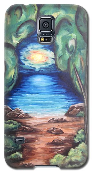Galaxy S5 Case featuring the painting The Quiet Ocean by Cheryl Pettigrew