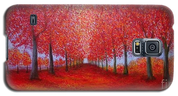Galaxy S5 Case featuring the painting The Red Maples Alley by Marie-Line Vasseur