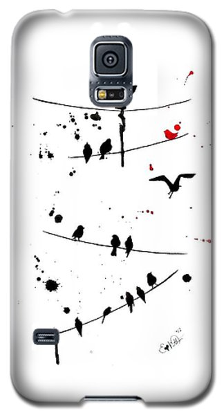 Galaxy S5 Case featuring the painting The Red by Oddball Art Co by Lizzy Love