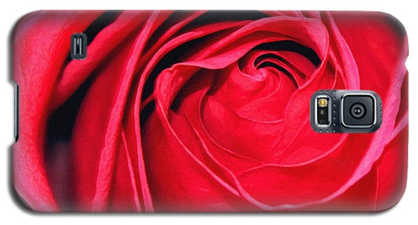 Galaxy S5 Case featuring the painting The Red Rose Blooming by Karon Melillo DeVega