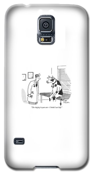 Cow Galaxy S5 Case - The Ringing In Your Ears - I Think I Can Help by Leo Cullum