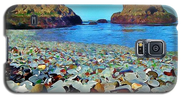 Galaxy S5 Case featuring the digital art Glass Beach In Cali by Catherine Lott