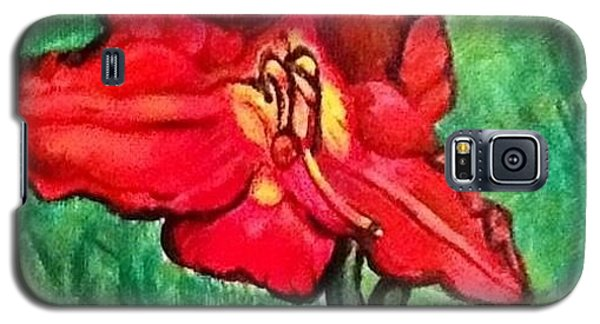 Galaxy S5 Case featuring the painting The Scarlet Lily by Kimberlee Baxter