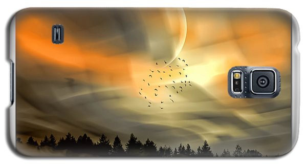 Galaxy S5 Case featuring the mixed media The Setting Sun Over The Rising Mist by Tyler Robbins